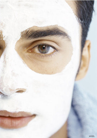Male model wearing white face mask