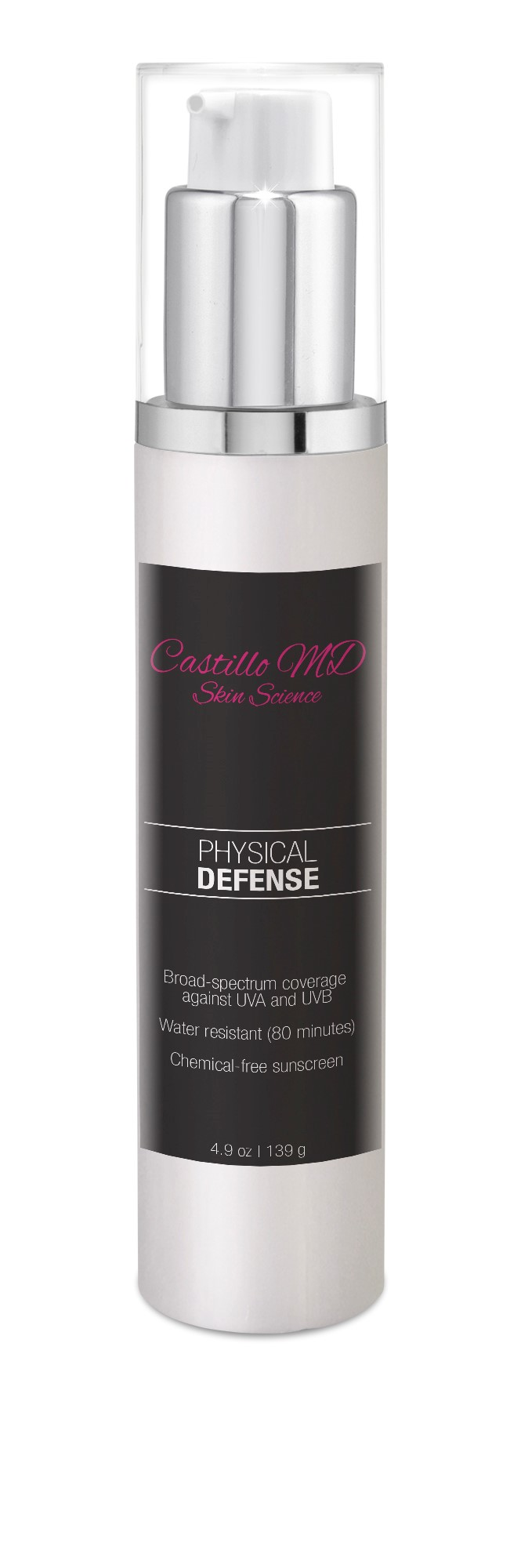 Bottle of physical defense spf 40 by castillo md skin science